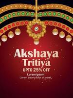 Indian festival of happy akshaya tritiya sale poster with creative gold illustration vector