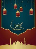Eid mubarak vector illustration flat design concept with realistic lantern