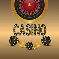 Casino gambling game with realistic illustration of roulette wheel gold coin and golden and black dice vector