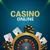 Casino online gambling game with creative illustration of roulette wheel and playing cards vector