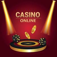 Online casino vip vector illustration with 3d roulette wheel and gold coin