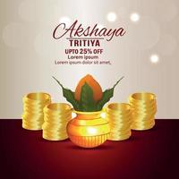 Akshaya tritiya sale promotion background with gold coin and kalash vector