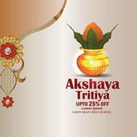 Akshaya tritiya celebration greeting card with golden kalash and gold necklace vector