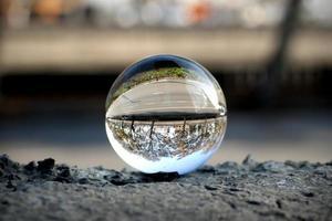 Street view through the lens ball photo