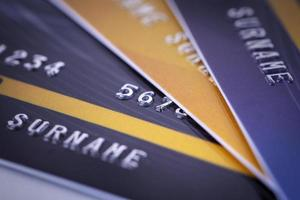 Stack of Credit card close up shot  business digital payment concept photo