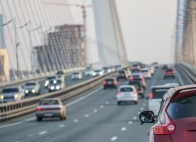 Traffic on the Golden bridge Vladivostok photo