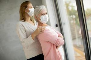 Mature masked mother and daughter photo