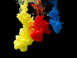 Color drops in water photo