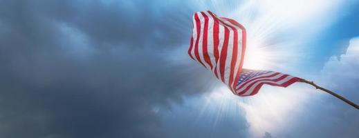American flag waving photo