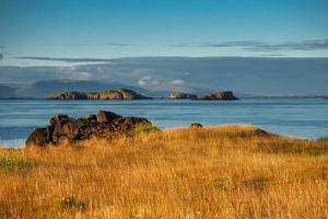 View from Stykkisholmur Iceland in golden sunlight photo