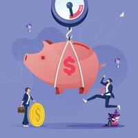 Full piggy bank on scale. Business savings and investment concept vector