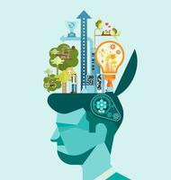 Ecology. Think green human mind vector
