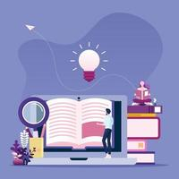 Online reading concept. Businessman reading book online vector