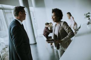 Two business people in discussion photo