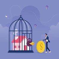 casa dentro de la jaula con cerradura. concepto de problemas comerciales y financieros vector