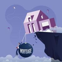 House on the edge of the cliff, pulled down by a weight of mortgage. Mortgage investment concept vector