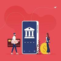 concepto de banca en línea y banca por internet. Personas que usan la aplicación para transferencias de dinero con teléfonos inteligentes. vector