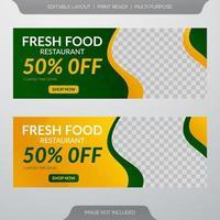 Fresh food restaurant banner vector