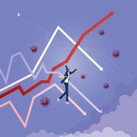 concepto de crecimiento económico y financiero. empresario colgando de flechas vector