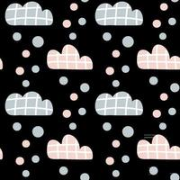 Vector kids pattern with clouds and rain drops and dots