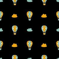 Vector scandinavian baby Seamless pattern of colorful air balloons and clouds isolated on white background
