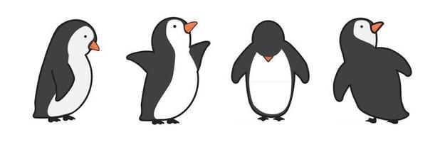 penguin cartoon characters in different poses set vector
