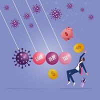 pandemia de coronavirus covid 19 que causa el concepto de crisis financiera vector