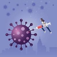 Fight corona virus. Business company defends from coronavirus vector