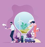 Green energy. Industry sustainable development with environmental conservation vector