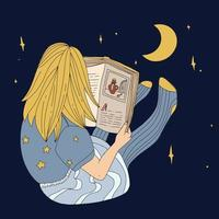 Girl reading a book at night vector