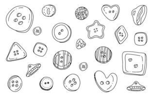 Button clothes doodle set vector
