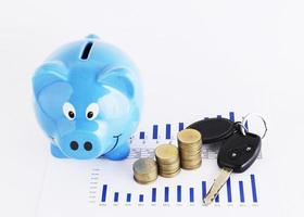 Car key and coins stack and piggy bank for loans money concept photo