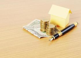 Home loans concept with dollar, coins stack, and fountain pen on wooden desk background photo