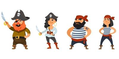 Male and female pirates with hands on belt vector