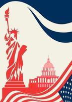 cartel con estatua de la libertad y el capitolio vector