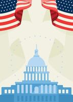 Poster with Capitol and american flags vector