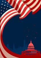 Poster with american flag and silhouette of Capitol vector