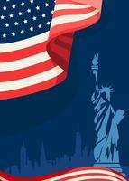Poster with american flag and Statue of Liberty vector