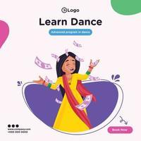 Banner design of learn dance cartoon style illustration vector
