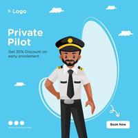 Banner design of private pilot cartoon style template vector