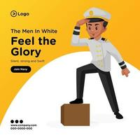 diseño de banner de hombres en blanco siente la gloria ilustración de estilo de dibujos animados vector