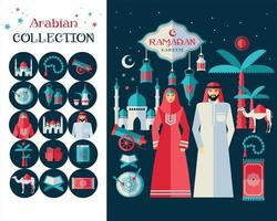 Ramadan Kareem icons set of Arabian. Flat design. vector