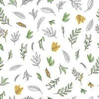 Simple hand-painted line art vector illustration with leaves. The seamless natural pattern for wallpaper, wrapping paper, surface design.