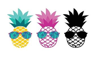 Pineapple with sunglasses Summer vacation concept vector