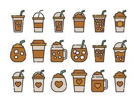 Iced coffee cup icon Colorline design coffee mug vector
