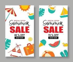 Summer sale banner cover template background Summer discount special offer cute design vector
