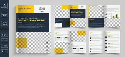 diseño geométrico limpio mínimo de plantilla de color azul de 8 páginas para folleto vector