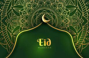 Luxury dark green and gold background banner with islamic arabesque mandala ornament Eid mubarak design template vector