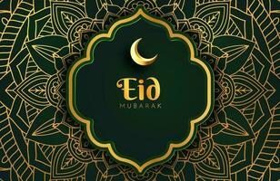 banner de fondo de oro negro de lujo con adorno de mandala arabesco islámico eid mubarak plantilla de diseño vector