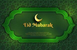 Banner de fondo verde oscuro y dorado de lujo con adorno de mandala arabesco islámico plantilla de diseño de eid mubarak vector